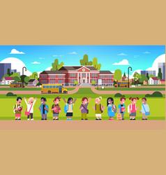 mix race pupils over yellow bus school building vector image