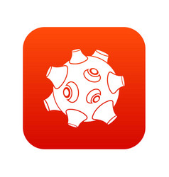 Moon with craters icon digital red vector