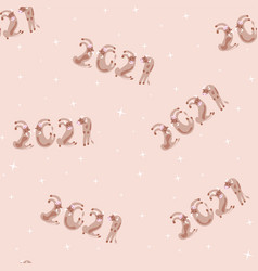 new year numbers 2021 seamless animals vector image
