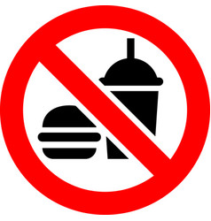 No food and drink forbidden sign modern round vector