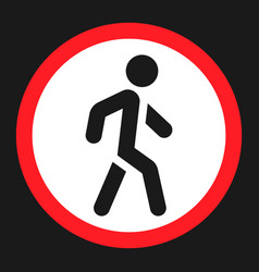 no pedestrians sign flat icon vector image