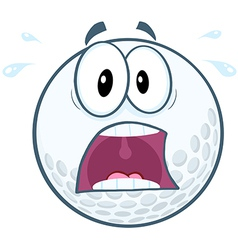 Panic Golf Ball Cartoon Mascot Character vector image