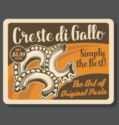 Pasta creste di gallo italian macaroni vector