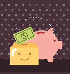 piggy bank and money box banknote charity donate vector image