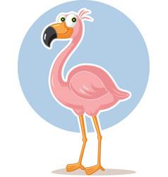pink flamingo bird cartoon vector image