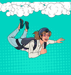 pop art businesswoman flying with parachute vector image