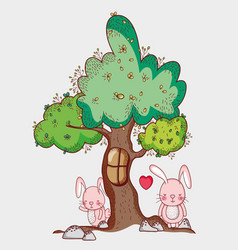 Rabbits in the forest doodle cartoons vector