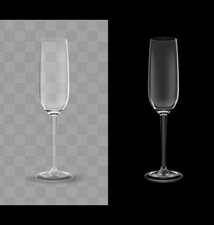 realistic champagne glasses transparent vector image