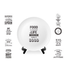 Realistic white food dish plate on a stand vector