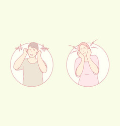 refusal to listen closing ears hearing problem vector image
