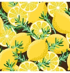 Seamless lemon and rosemary vector image