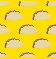 Seamless pattern mexican burrito with meat and vector
