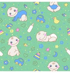 Seamless pattern with cute newborn baby boy vector