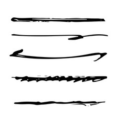 set black ink brush stroke line set line vector image