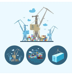 Set icons with container the cranes vector image