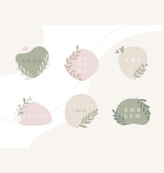 set minimal emblems with organic abstract vector image