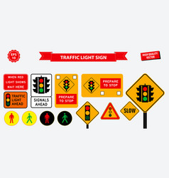 set of flat traffic light sign vector image