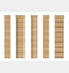Set of textures of brick classical columns vector