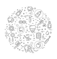 Set of web line icons - teeth dentistry medicine vector image