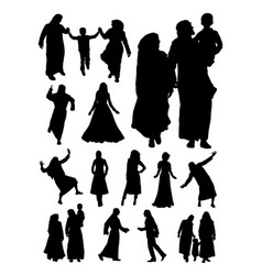 silhouette muslim family vector image