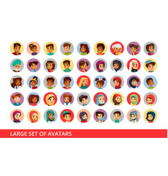 Social network user avatars cartoon vector