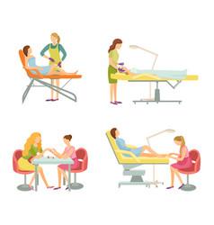 Spa salon cosmetician and manicurist icons vector