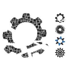 Square gear destruction icon mosaic vector