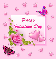 stock valentines day greeting card with rose and vector image