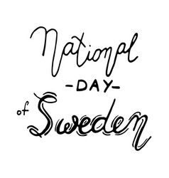 Sweden national day lettering vector