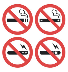 Symbol set - vaping forbidden smoking vector