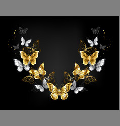 symmetrical pattern of gold and white butterflies vector image
