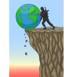 The terrorist destroys world vector