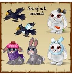 Three poor sick and healthy animals vector image