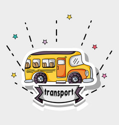 transportation school bus patches design vector image