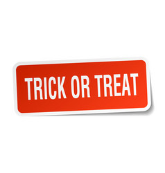 Trick or treat square sticker on white vector