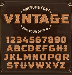 Vintage Label Font with shadow vector