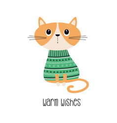 warm wishes card with cat vector image
