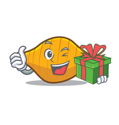 With gift conchiglie pasta mascot cartoon vector