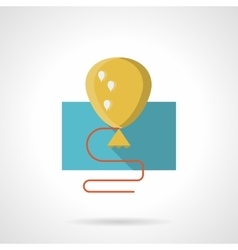 Yellow balloon with shadow flat icon vector image