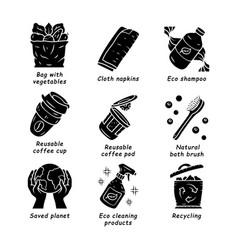 zero waste swaps handmade glyph icons set vector image