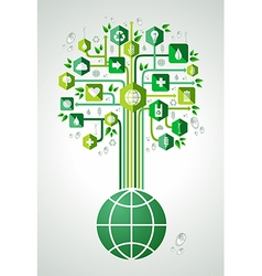Green eco friendly planet tree vector image vector image