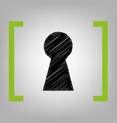 keyhole sign black scribble vector image vector image