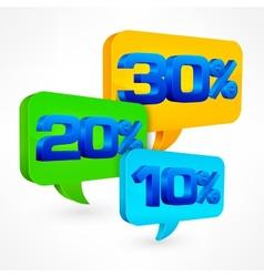Percentage speech bubble vector image vector image