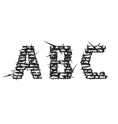 Black decorative aggressive brick styled font vector image