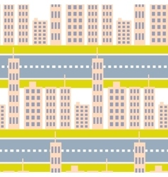 City skyscrapers and road street seamless pattern vector image