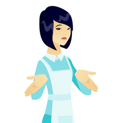 confused young asian cleaner shrugging shoulders vector image vector image