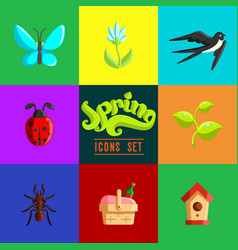 flat spring icons set vector image vector image