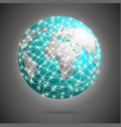 global digital connections with glowing lights vector image