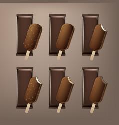 set of bitten popsicle choc-ice lollipop ice cream vector image vector image