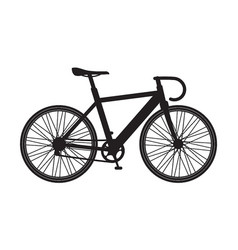 silhouette bicycle mountain icon isolated on vector image